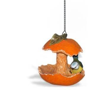 An image of Orange Birdfeeder with Blue Tit