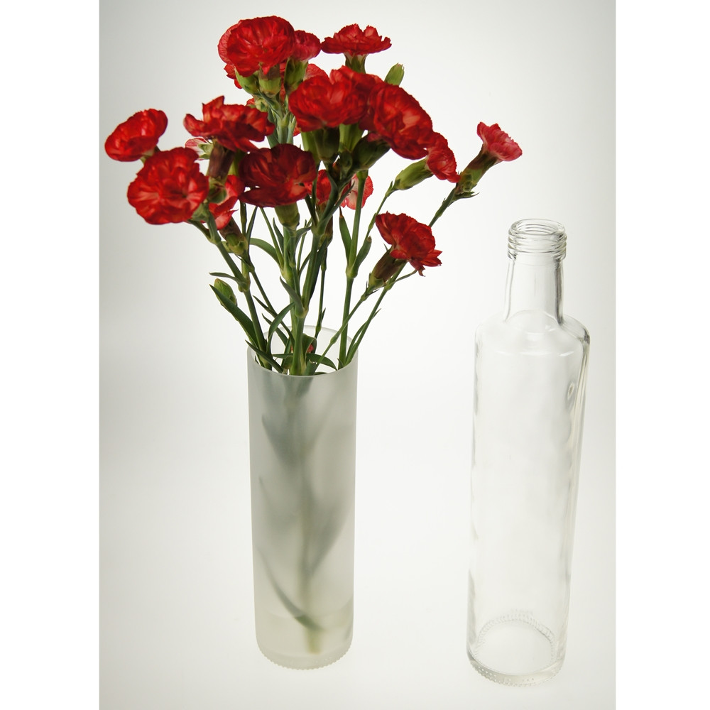 An image of Tall Frosted vase from recycled bottle