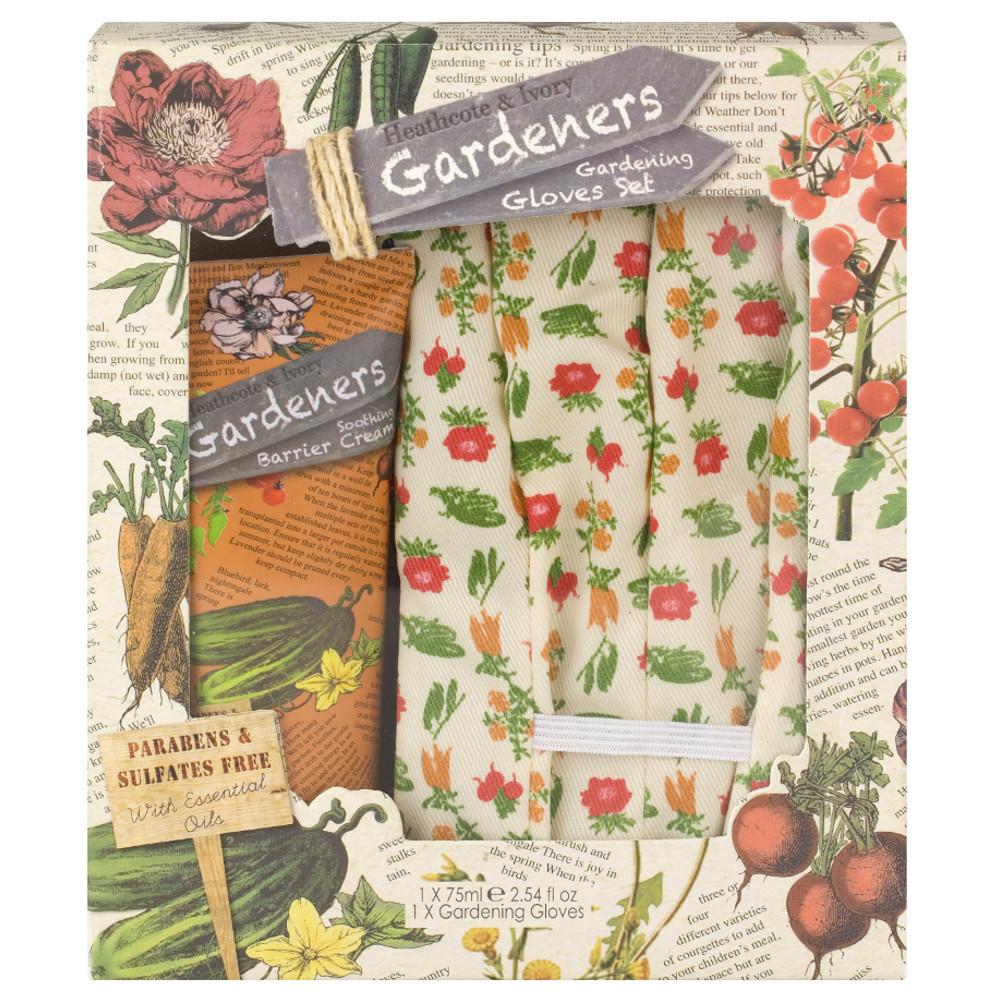 An image of Heathcote & Ivory Gardeners Barrier Cream & Gardening Gloves Set